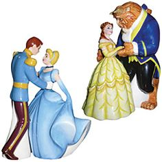 Cinderella & Prince and Beauty & Beast are partnered in two enchanting salt & pepper shaker sets. Mini magnets keep them paired on collectibles shelf. $14 per set.