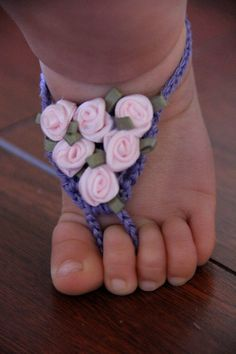 Baby Barefoot Sandals Crochet with Satin Roses by LillyLaneCouture