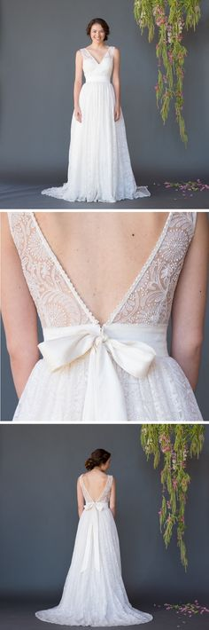 Feminine and textured sunflower lace wedding dress Photo Credit: Sugiyama Photography / JS Photo