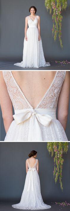 Feminine and textured sunflower lace wedding dress Photo Credit: Sugiyama Photography / JS Photo