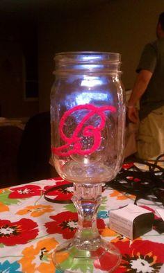 Monogramed Redneck Wine Glasses : Wedding Bridesmaids Diy Reception IMAG1132