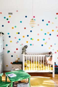 Polka dotted nursery, how cute!