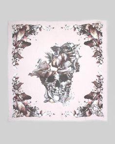 Alexander McQueen Mushroom-Skull Scarf - Neiman Marcus