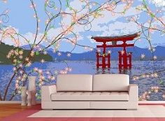 Japanese themed bedroom ideas-this page has a lot of wall mural *gasp* stickers-I'm pinning merely for some painting inspiration-I think this is a starting point of using the cherry blossom and structure as silhouettes.