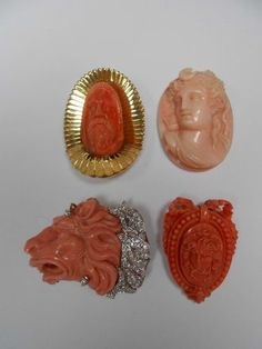 Group of carved coral cameo and diamond
