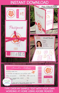 Hawaiian Luau Party Printables, Invitations, Decorations | Boarding Pass | Passport | Birthday Party | Editable DIY Theme Templates | INSTANT DOWNLOADS $12.50 via SIMONEmadeit.com