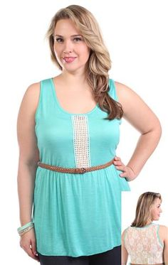 plus size tank with crochet front and partial lace back with braided belt