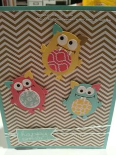 Stampin' Up!  Owl punch monsters by Sheri Pearson.