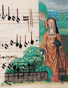 """Manuscrito iluminado sacado del """"Cancionero de Juana I de Castilla"""" donde se pueden apreciar piezas musicales de la Corte Borgoñana. Biblioteca Real de Bélgica. Hacía 1511. Probablemente sea una imagen de Juana."""