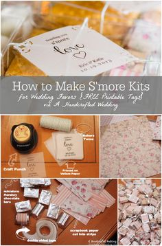 How to Make S'more Kits. These DIY S'more Kits make perfect rustic wedding favors. Plus download FREE Printable Tags! {ahandcraftedwedding.com}