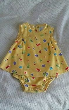Girls size 3-6 months yellow with sea animal pattern Spring dress Excellent cond