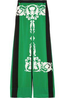 Tibi  Printed silk crepe de chine palazzo pants