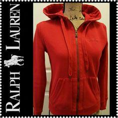 Ralph Lauren Zip Up Jacket LRL Ralph Lauren Signature Zip Up Jacket with Hoodie in Gorgeous Red, Cotton Polyester Blend Material, Fleece Lined, Mint Condition Ralph Lauren Tops Sweatshirts & Hoodies