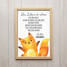Picture life is beautiful art print fox saying print children's room decoration - Kinderzimmer Quote Prints, Art Prints, Childrens Room Decor, Kid Beds, Baby Shower Parties, Shower Party, Life Is Beautiful, Pin Collection, Decoration