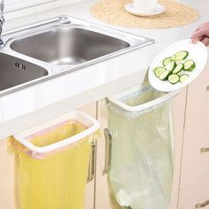 Kitchen door garbage bag rack kitchen plastic bag rack can be linked to storage rack trash rack