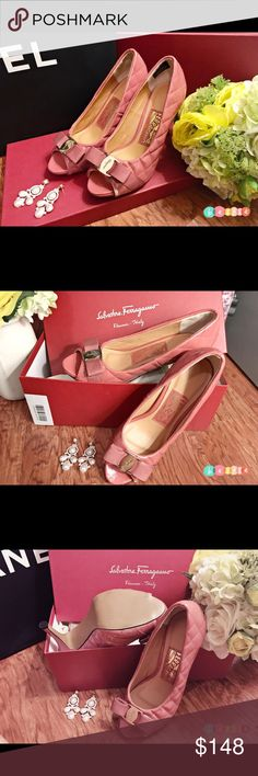 Salvatore Ferragamo Pink Quilted Patent Pump 6 Pink quilted patent leather peep-toe pumps with tonal stitching, concealed platforms, covered heels and Pink canvas bows at vamps with metallic gold-tone logo placards at centers.+++Plus Free Trendy Elegant Luxury Pearl Rhinestone Chandelier Earring+++++ ( I Only Wear Em Twice/ Earring is Brand New ) Salvatore Ferragamo Shoes Heels