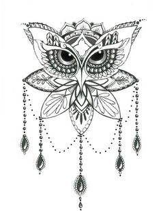 Image result for owl design black and white