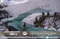 Crossing the beautiful glacier river from Concordia while on the Gondogoro La Trek Pakistan. Word Adventure, Gilgit Baltistan, My Land, Heaven On Earth, Natural Wonders, Travel Pictures, Trek, Pakistan, Mount Everest