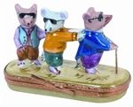 Three blind mice, see how they run! Limoges box