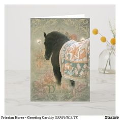 Friesian Horse - Greeting Card Our beloved Friesian Stallion DIAMOND ~ Photo Composition an Archaic Paper! Andalusian Horse, Friesian Horse, Arabian Horses, Palomino, Black Horses, Wild Mustangs, Clydesdale, Draft Horses, Diy Stuffed Animals