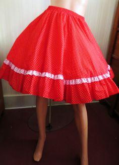 1e2a7fc47069a Vintage Red Polka Dot Skirt, Lace Trim, Square Dance Skirt, Line Dance,