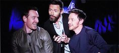 James McAvoy, Hugh Jackman and Michael Fassbender having fun
