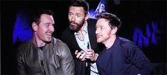 James McAvoy, Hugh Jackman and Michael Fassbender having fun