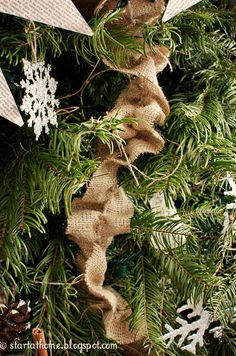 Trick to create a ruffled burlap garland. Try layering with softer fabric to add lightness/texture. Primitive Christmas Ornaments, Burlap Ornaments, Burlap Garland, Burlap Christmas, Christmas Crafts, Christmas Decorations, Christmas Ideas, Fabric Garland, Holiday Decorating
