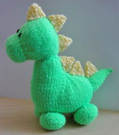 Dinky Dino Knitting Pattern - Knitting by Post Baby Boy Knitting Patterns, Beginner Knitting Patterns, Knitting For Beginners, Knitting Projects, Baby Knitting, Knitting Toys, Free Knitting, Knitted Stuffed Animals, Knitted Animals