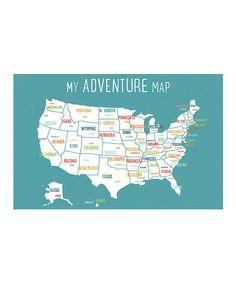 Blue 'My Adventure Map' Print & Sticker Set