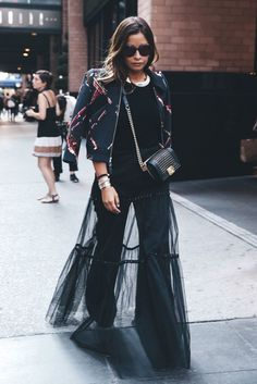 I love the sheer maxi skirt over wide bottom pants. Boho chic