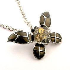 Clockworks butterfly pendant -watch parts in resin by polasian.deviantart.com on @deviantART