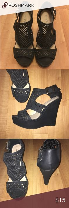 Call it spring black wedges Black wedges with cutout design from call it spring. Good condition. Minor scuffs from normal wear but no excessive damage. Call It Spring Shoes Wedges