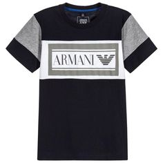 37d0023d5b63 Cool Navy Blue T-shirt with White and Grey details. It has the iconic