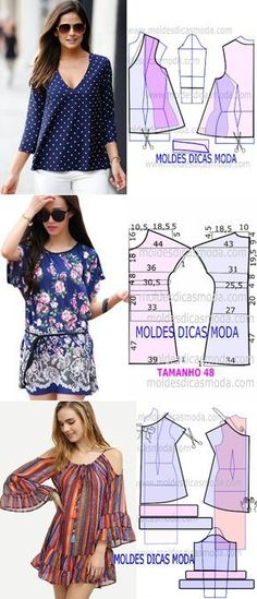"How to sew blouses and dress. ♥ Deniz ♥ ""♥ moldes blusa♥ Más Clothing Patterns, how to cut and make beautiful blouses, via"", ""Blue peasant blouse off Sewing Dress, Diy Dress, Blouse Patterns, Clothing Patterns, Sewing Patterns, Robe Diy, Sewing Blouses, Sewing For Beginners, Diy Clothing"
