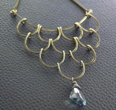 Egyptian cascade with a mystic quartz drop dangle brass with patina necklace