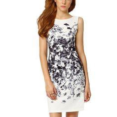 Delle nuove donne di estate dress matita vestiti aderenti sexy femminile abito bianco senza maniche vintage print dress