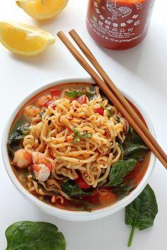 Sriracha Shrimp Ramen - Baker by Nature - Sriracha Shrimp Ramen Noodle Soup – SO flavorful, filling, and ready in 20 minutes! Ramen Recipes, Noodle Recipes, Quick Recipes, Seafood Recipes, Asian Recipes, Vegetarian Recipes, Cooking Recipes, Healthy Recipes, Tasty Noodles Recipe