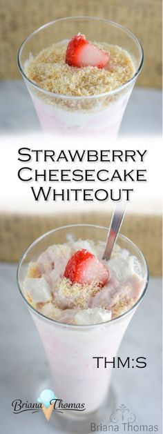 This low carb Strawberry Cheesecake Whiteout is my healthy version of the Strawberry Cheesequake Blizzard from DQ! This low carb Strawberry Cheesecake Whiteout is my healthy version of the Strawberry Cheesequake Blizzard from DQ! Sugar Free Desserts, Sugar Free Recipes, Low Carb Desserts, Diabetic Desserts, Strawberry Smoothie, Strawberry Cheesecake, Fruit Smoothies, Strawberry Desserts, Thm Recipes
