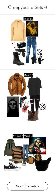 """""""Creepypasta Sets =)"""" by chuckygal-mp ❤ liked on Polyvore featuring art, hoodie, creepypasta, marbleHornets, proxy, Proxies, masky, Edith A. Miller, J Brand and Converse"""