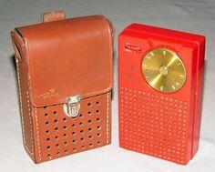 Vintage Regency TR-1 4-Transistor Radio, Mandarin Red, Made in USA, Circa 1954.