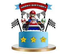Discover recipes, home ideas, style inspiration and other ideas to try. Mario Kart Cake, Mario Bros Cake, Super Mario Cake, Super Mario Party, Toy Story Cake Toppers, Toy Story Cakes, Mario Birthday Cake, Birthday Cake Toppers, Power Ranger Cake Toppers
