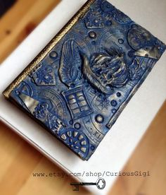 Doctor Who polymer clay art work, blank art book , steampunk sketchbook , travel journal by CuriousGigi on Etsy
