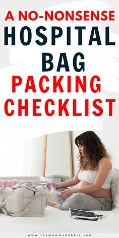 A complete checklist for your hospital bag. These are the only things you really need to take with you to the hospital when you're giving birth. The best tips for pregnant ladies in their third trimester to get organised for your due date.