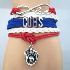 Custom Made Infinite Love Chicago CUBS baseball team colors Bracelet