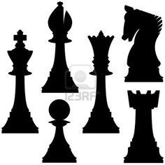 Pièces d'échecs en silhouette vecteur, y compris le roi, reine, tour, pion, chevalier, et l'évêque Banque d'images - 4695127
