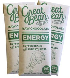 Energy Coffee-Infused Raw Chocolate – Pack of 3 | Nom nom nom for $21