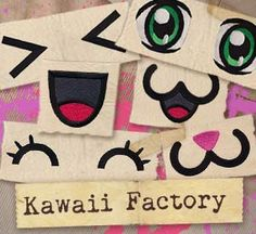 """""""Kawaii Factory (Design Pack)""""  Mix and match eyes and mouths from the Kawaii Factory pack to build your own expressive face.  -  UTP1168 (Machine Embroidery)  00467512-053013-0647-3"""