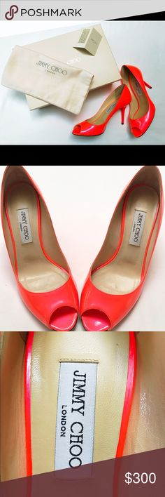 Jimmy Choo evelyn coral peep toe patent pumps Beautiful color! Excellent condition! Jimmy Choo Shoes Heels