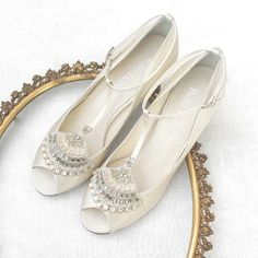 Hand-embroidered with baguette crystals, beads, pearls and rhinestone wedding shoes